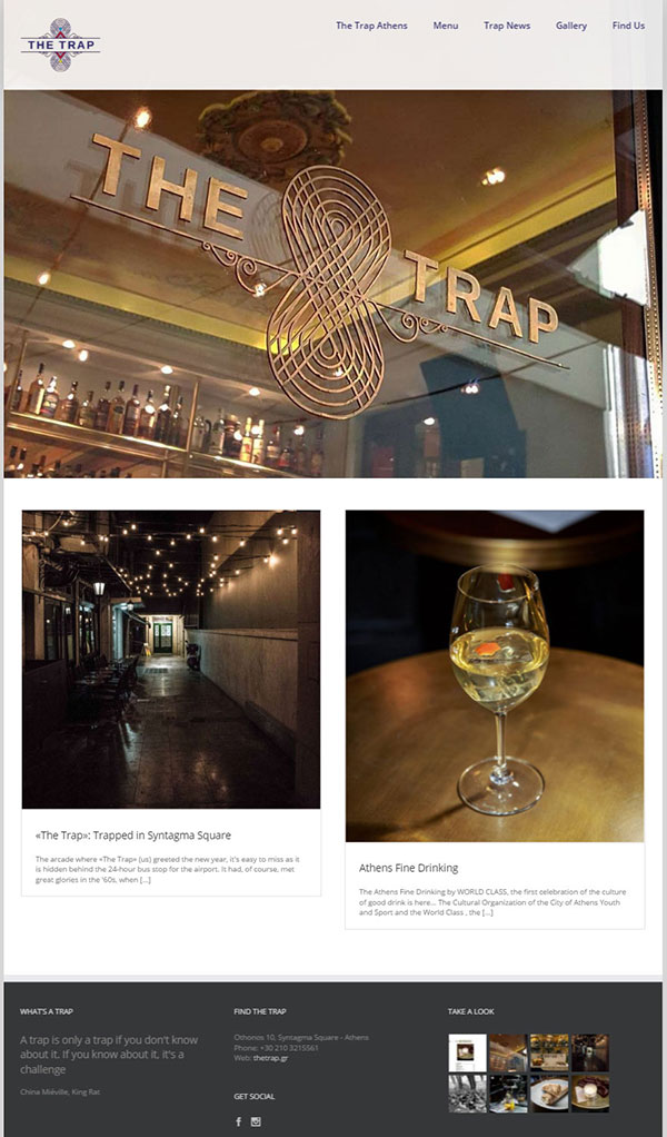 Κατασκευή web site Bistro - Bar The Trap Athens